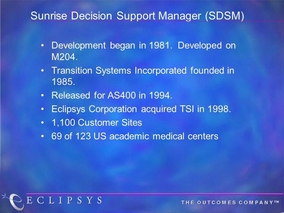 Sunrise Decision Support Manager (SDSM) Development began in 1981. Developed on M204. Transition Systems Incorporated founded in 1985. Released for AS