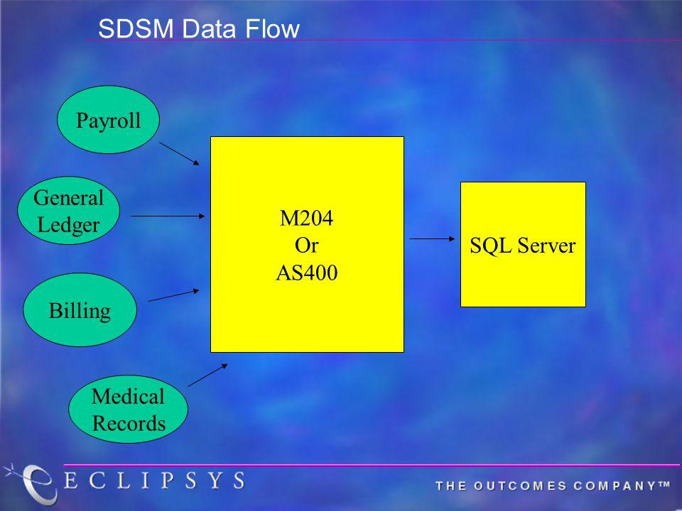 SDSM Data Flow Payroll General Ledger Medical Records Billing M204 Or AS400 SQL Server