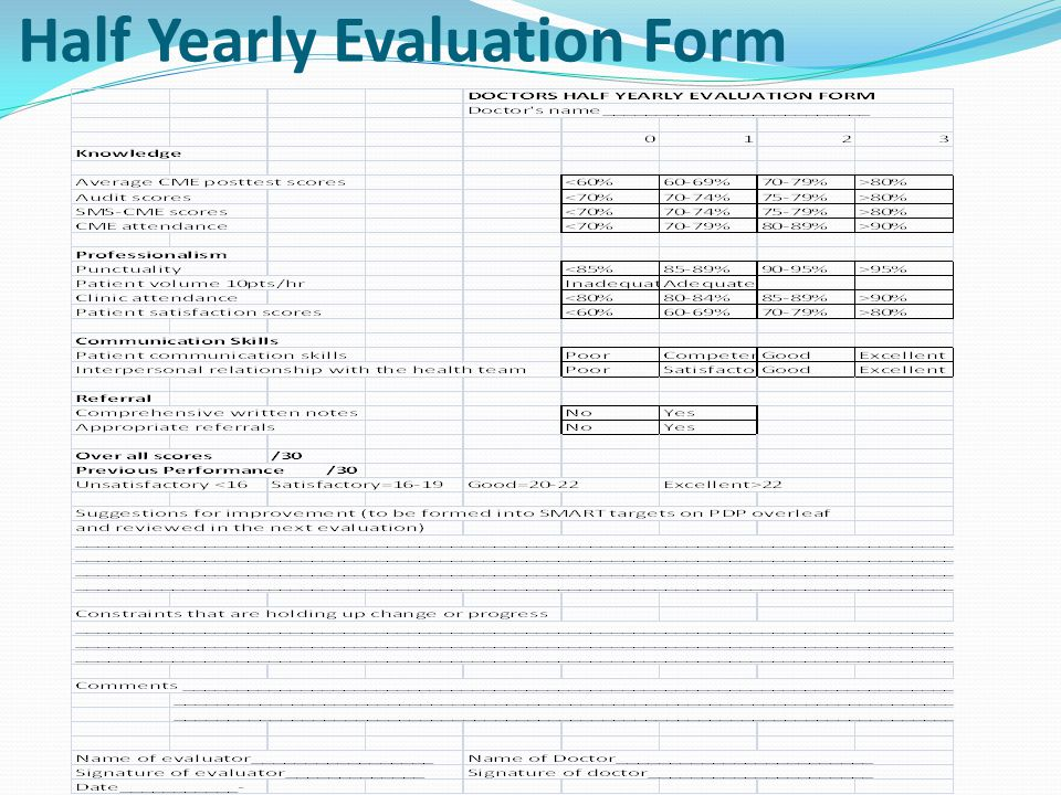 Half Yearly Evaluation Form