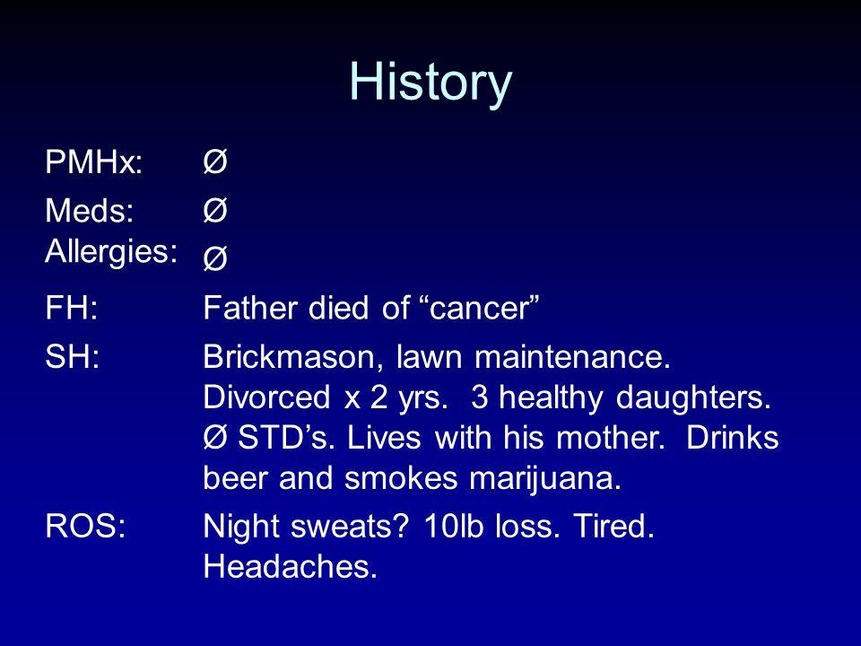 History PMHx:Ø Meds: Allergies: ØØØØ FH:Father died of cancer SH:Brickmason, lawn maintenance. Divorced x 2 yrs. 3 healthy daughters. Ø STDs. Lives wi