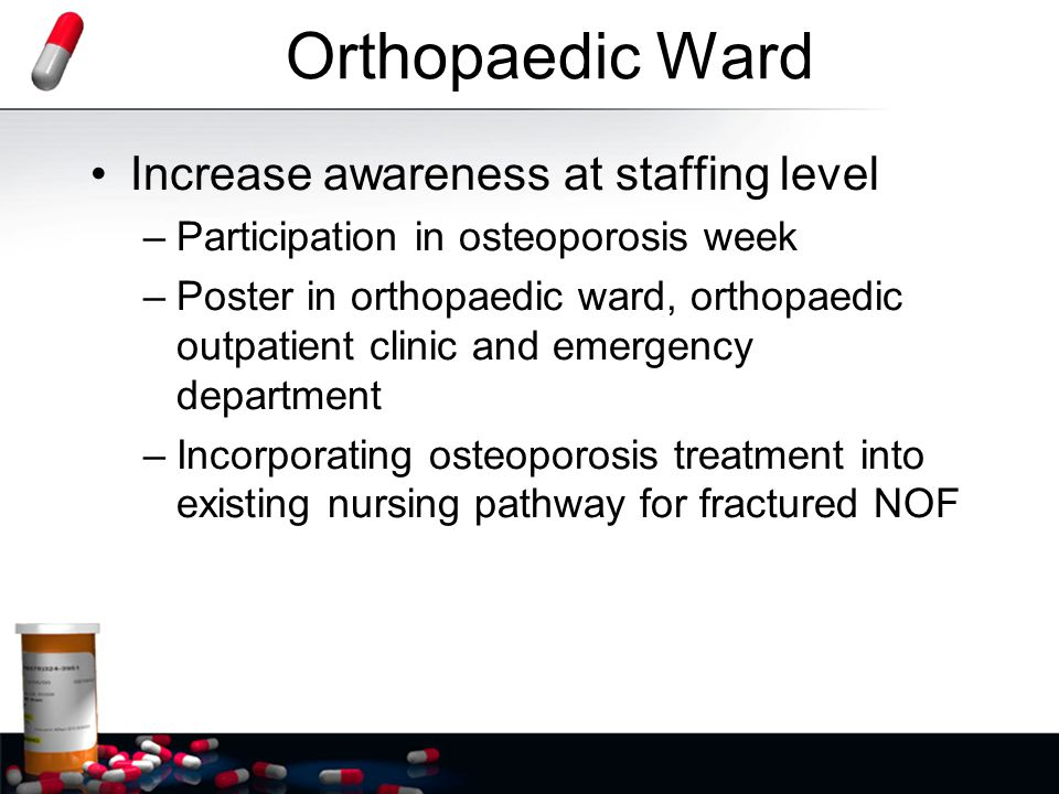 Orthopaedic Ward Orthogeriatric orientation provided to all RMOs at start of new term –Every patient with a low impact fracture has osteoporosis –Encourage charting of Triple Therapy Caltrate 1200mg daily Ergocalciferol1,000 units daily Alendronate70mgweekly (to commence on discharge) –If on a bisphosphonate at admission it must be charted on drug chart as recommence on discharge –Importance of putting date of X-ray on discharge summary (required for special authority script)