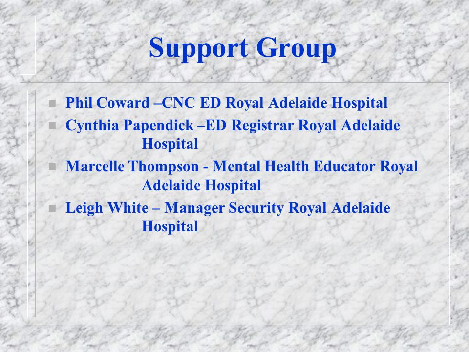 Guiding Committee n Dr Darryl Watson - General Manager Early Intervention and Acute Services Mental Health n Dr James Hundertmark - Director Acute Service Mental Health QEH (CHAIR) n Dr Geoff Hughes - Director Emergency Department Royal Adelaide Hospital n Neville Phillips - Nursing Director Early Intervention and Acute Services Mental Health n Suzanne Heath - Manager Service Development Mental Health Directorate n Adrian Jackson - Project Officer, Early Intervention and Acute Services Mental Health n Lynne James - Senior Program Planning Officer Acute Services Mental Health Directorate