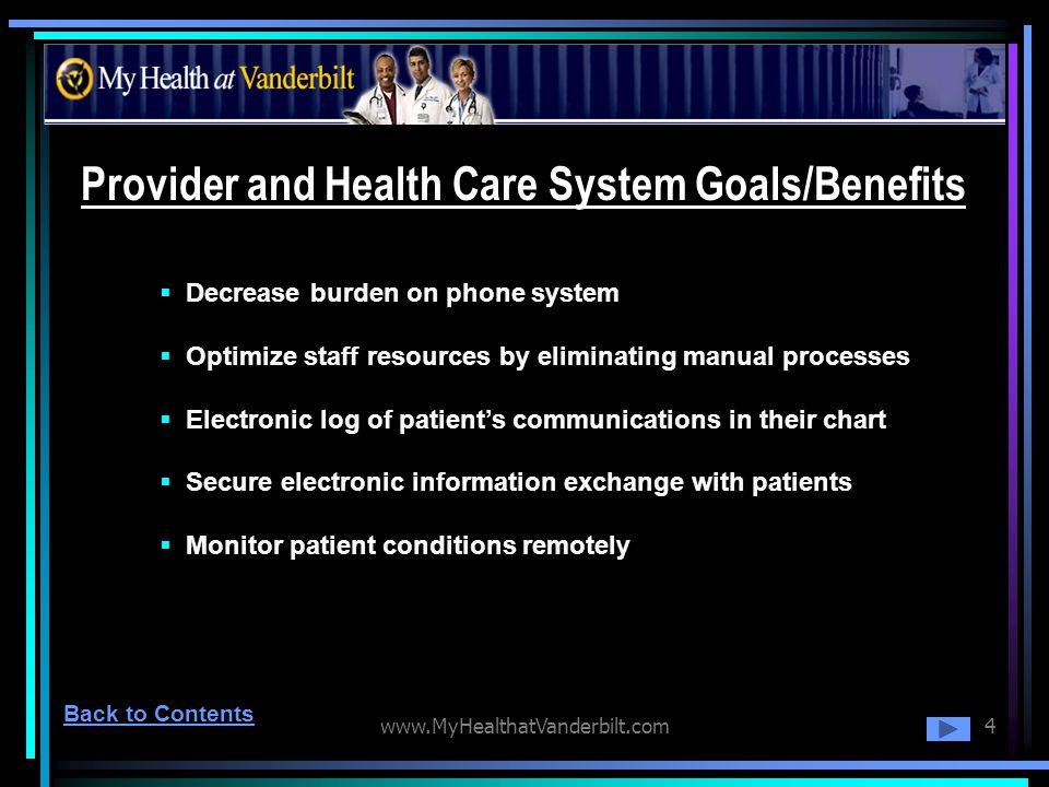 www.MyHealthatVanderbilt.com4 Provider and Health Care System Goals/Benefits Decrease burden on phone system Optimize staff resources by eliminating m