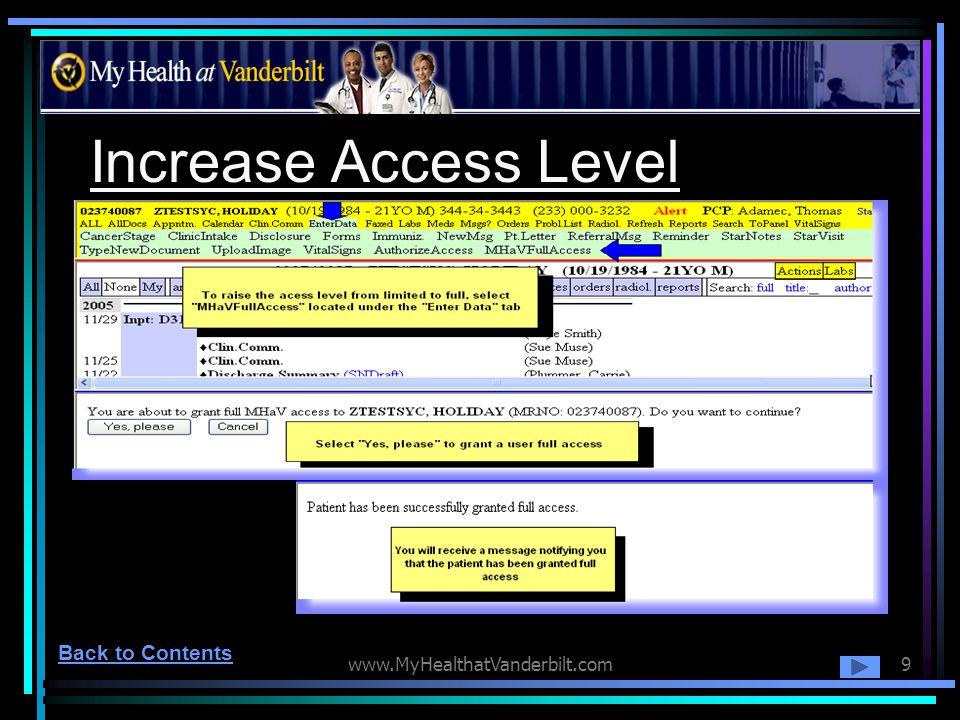 www.MyHealthatVanderbilt.com9 Increase Access Level Back to Contents