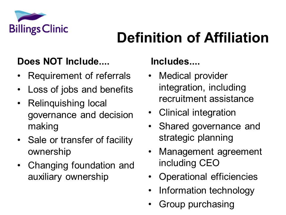 Definition of Affiliation Does NOT Include....