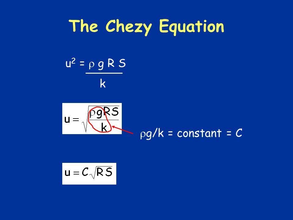The Chezy Equation u 2 = g R S k g/k = constant = C