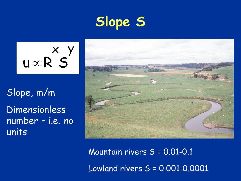 Slope S Slope, m/m Dimensionless number – i.e.