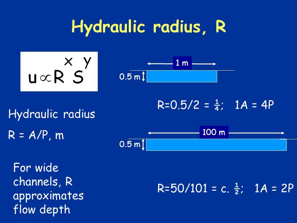 Hydraulic radius, R Hydraulic radius R = A/P, m 0.5 m 1 m 0.5 m 100 m R=0.5/2 = ¼; 1A = 4P R=50/101 = c.