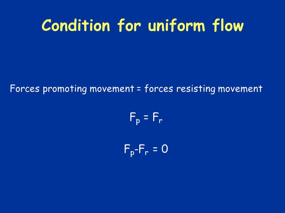 Condition for uniform flow Forces promoting movement = forces resisting movement F p = F r F p -F r = 0