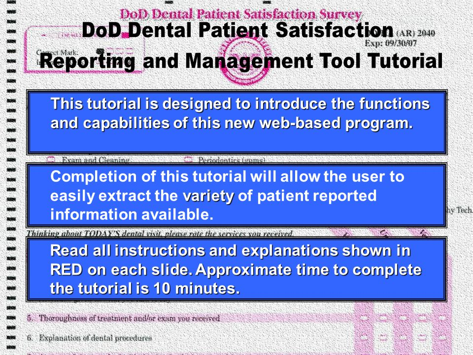 Tri-Service Center for Oral Health Studies website address is: www.usuhs.mil/tscohs/index.shtml Click here to View Survey Reports and to monitor Surveys Received
