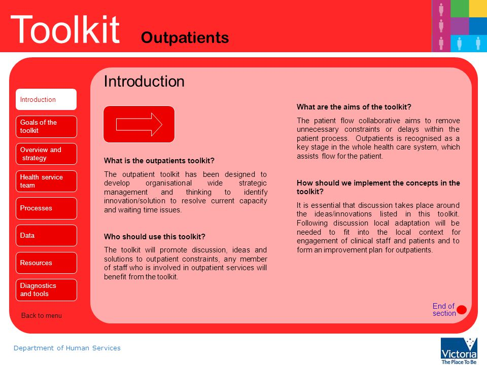 Toolkit Outpatients Department of Human Services Goals of the toolkit Introduction The outpatient toolkit is based on whole system thinking and therefore includes a whole of hospital perspective, outpatients can be involved in reducing constraints in other areas following whole system redesign.