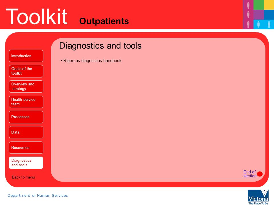 Toolkit Outpatients Department of Human Services Diagnostics and tools Rigorous diagnostics handbook End of section Introduction Goals of the toolkit