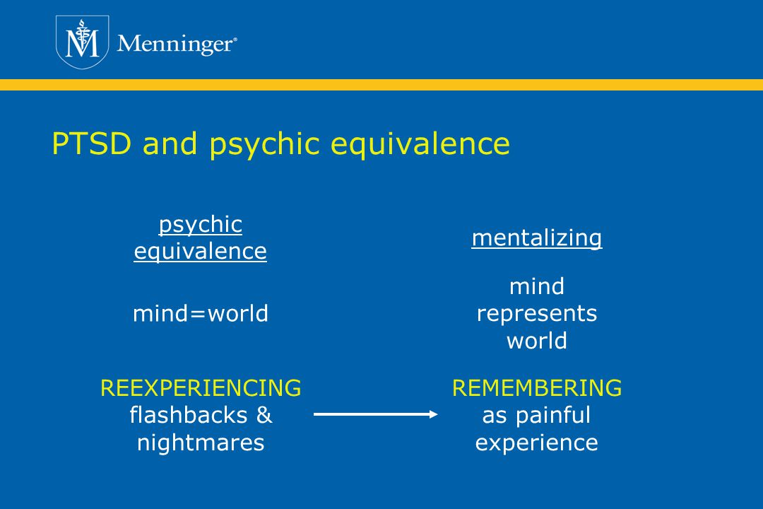 PTSD and psychic equivalence psychic equivalence mind represents world REEXPERIENCING flashbacks & nightmares mind=world mentalizing REMEMBERING as painful experience