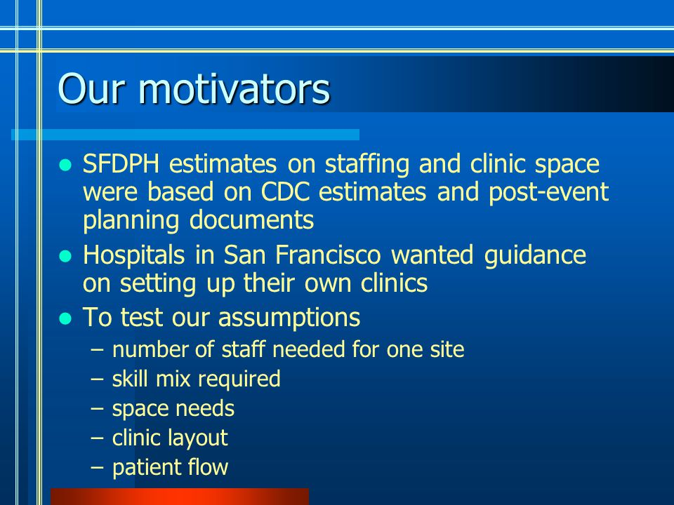 Our motivators SFDPH estimates on staffing and clinic space were based on CDC estimates and post-event planning documents Hospitals in San Francisco wanted guidance on setting up their own clinics To test our assumptions –number of staff needed for one site –skill mix required –space needs –clinic layout –patient flow