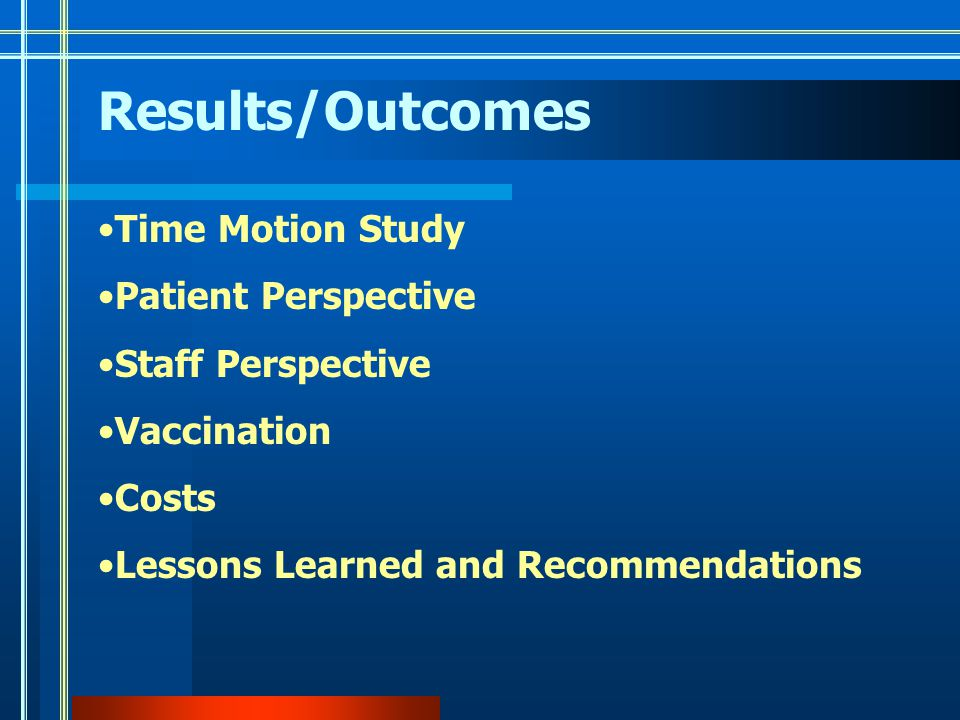 Results/Outcomes Time Motion Study Patient Perspective Staff Perspective Vaccination Costs Lessons Learned and Recommendations
