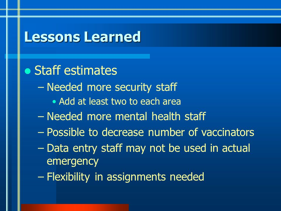 Staff estimates –Needed more security staff Add at least two to each area –Needed more mental health staff –Possible to decrease number of vaccinators –Data entry staff may not be used in actual emergency –Flexibility in assignments needed Lessons Learned