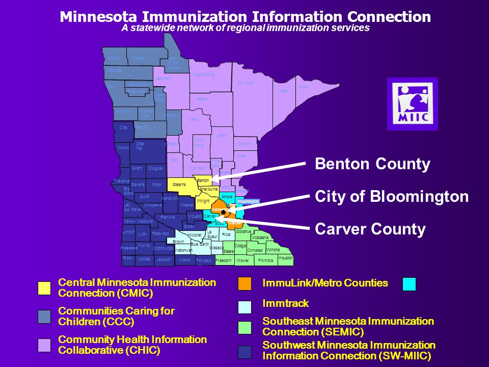 Minnesota Immunization Information Connection Community Health Information Collaborative (CHIC) Central Minnesota Immunization Connection (CMIC) Communities Caring for Children (CCC) ImmuLink/Metro Counties Southeast Minnesota Immunization Connection (SEMIC) Immtrack Southwest Minnesota Immunization Information Connection (SW-MIIC) A statewide network of regional immunization services Benton County Carver County City of Bloomington