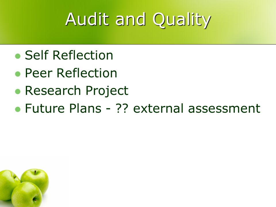 Audit and Quality Self Reflection Peer Reflection Research Project Future Plans - .