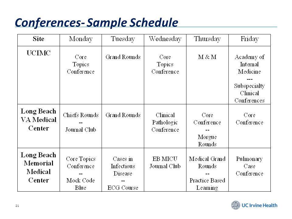 21 Conferences- Sample Schedule