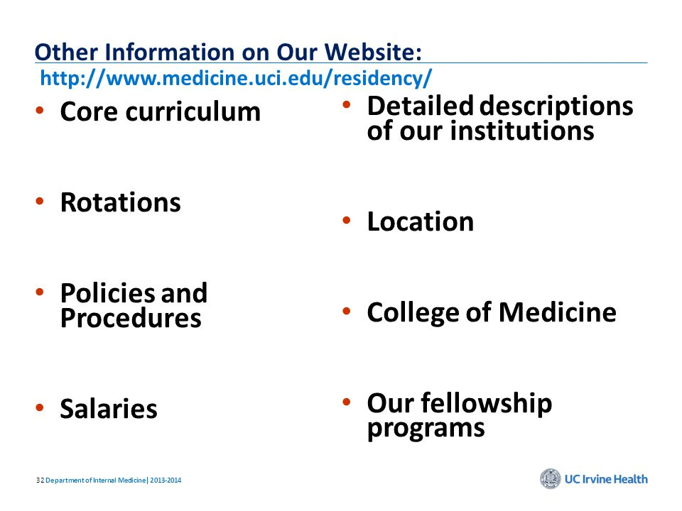 32 Core curriculum Core curriculum Rotations Rotations Policies and Procedures Policies and Procedures Salaries Salaries Other Information on Our Webs