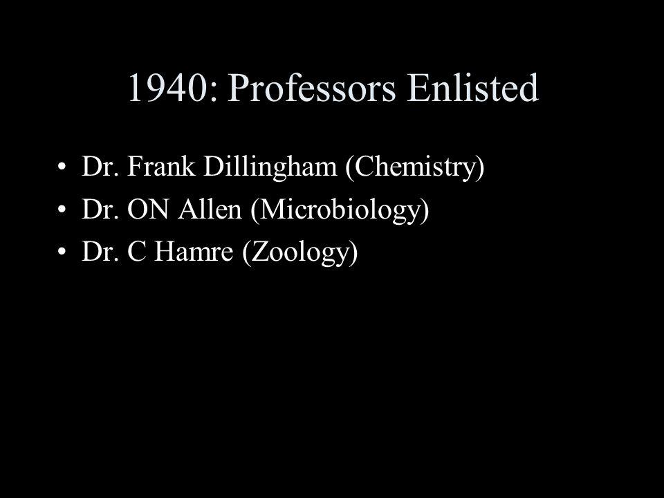 1940: Professors Enlisted Dr. Frank Dillingham (Chemistry) Dr.