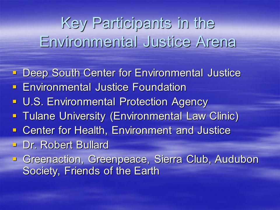 Key Participants in the Environmental Justice Arena Deep South Center for Environmental Justice Deep South Center for Environmental Justice Environmental Justice Foundation Environmental Justice Foundation U.S.