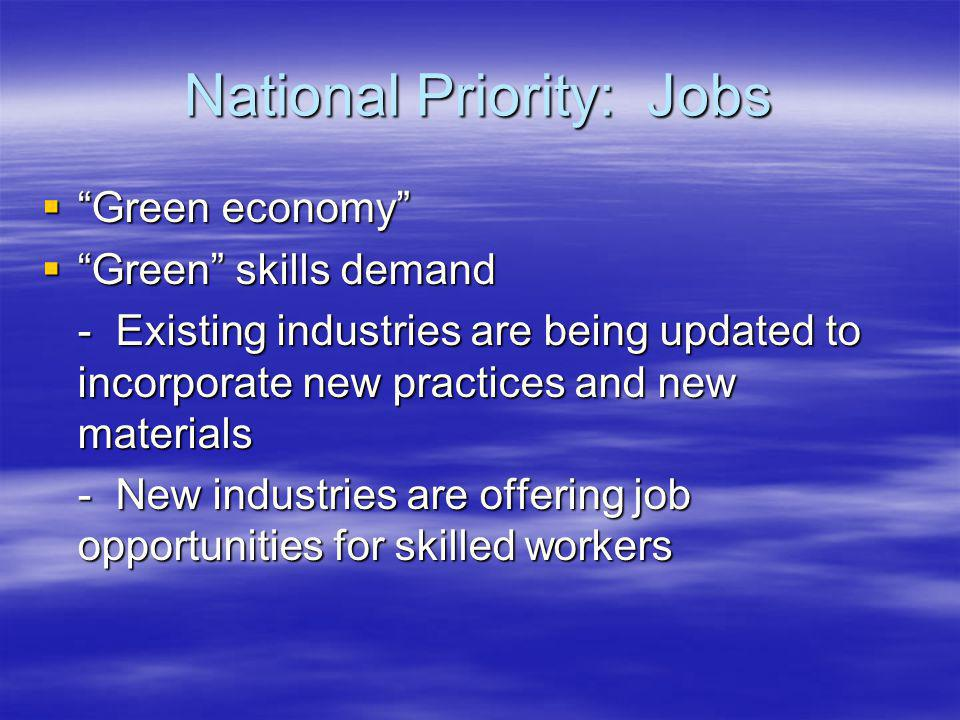 National Priority: Jobs Green economy Green economy Green skills demand Green skills demand - Existing industries are being updated to incorporate new practices and new materials - New industries are offering job opportunities for skilled workers