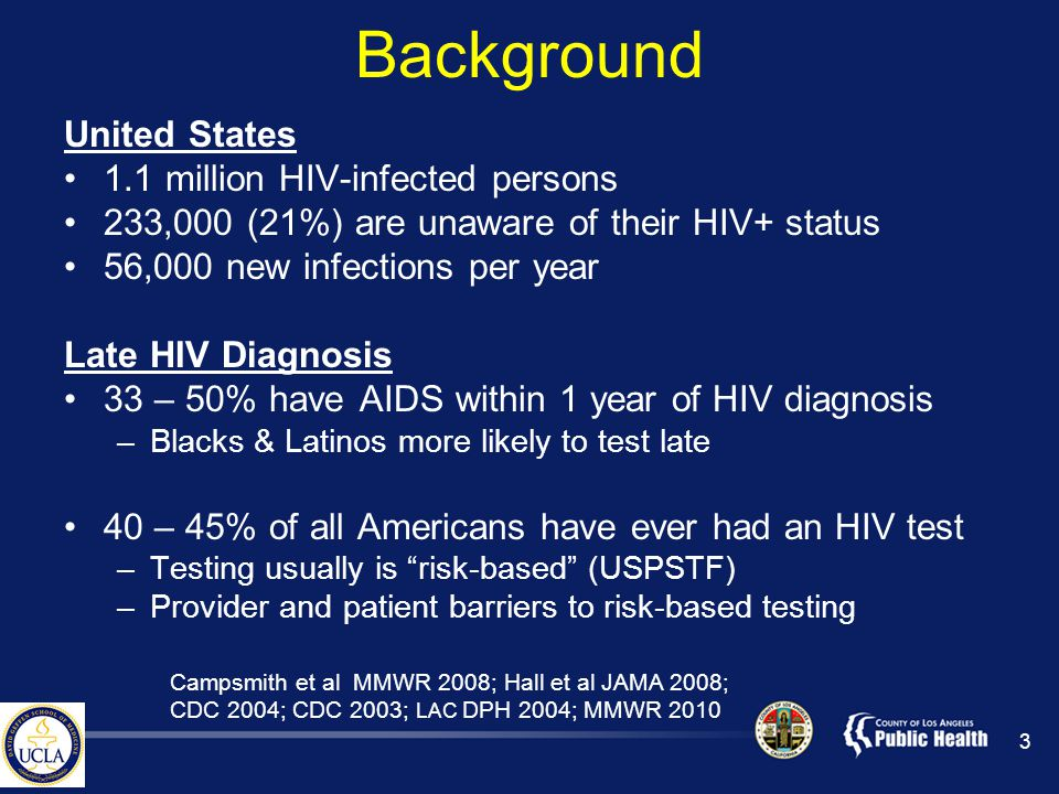 Background United States 1.1 million HIV-infected persons 233,000 (21%) are unaware of their HIV+ status 56,000 new infections per year Late HIV Diagnosis 33 – 50% have AIDS within 1 year of HIV diagnosis –Blacks & Latinos more likely to test late 40 – 45% of all Americans have ever had an HIV test –Testing usually is risk-based (USPSTF) –Provider and patient barriers to risk-based testing 3 Campsmith et al MMWR 2008; Hall et al JAMA 2008; CDC 2004; CDC 2003; LAC DPH 2004; MMWR 2010