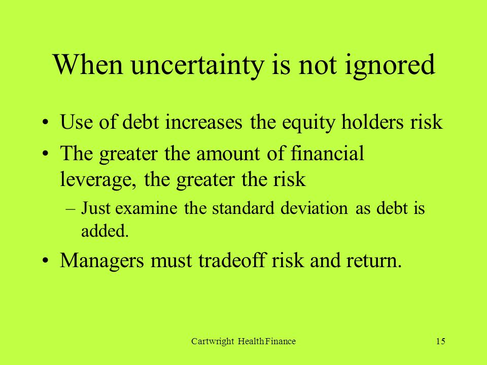 Cartwright Health Finance15 When uncertainty is not ignored Use of debt increases the equity holders risk The greater the amount of financial leverage, the greater the risk –Just examine the standard deviation as debt is added.