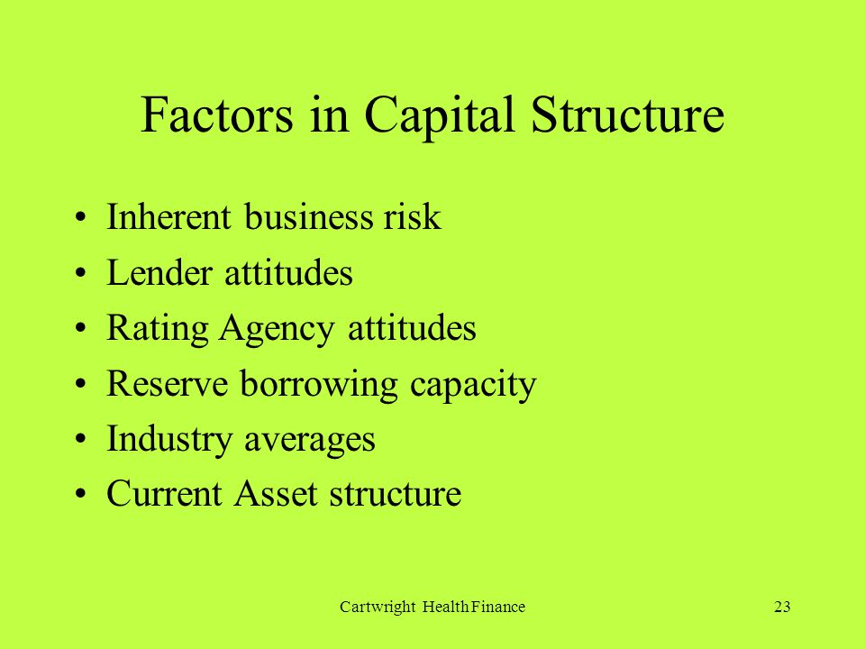 Cartwright Health Finance23 Factors in Capital Structure Inherent business risk Lender attitudes Rating Agency attitudes Reserve borrowing capacity Industry averages Current Asset structure