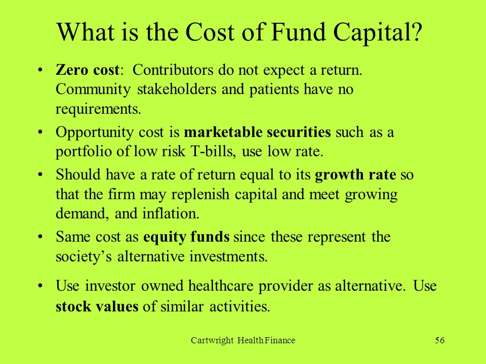 Cartwright Health Finance56 What is the Cost of Fund Capital.