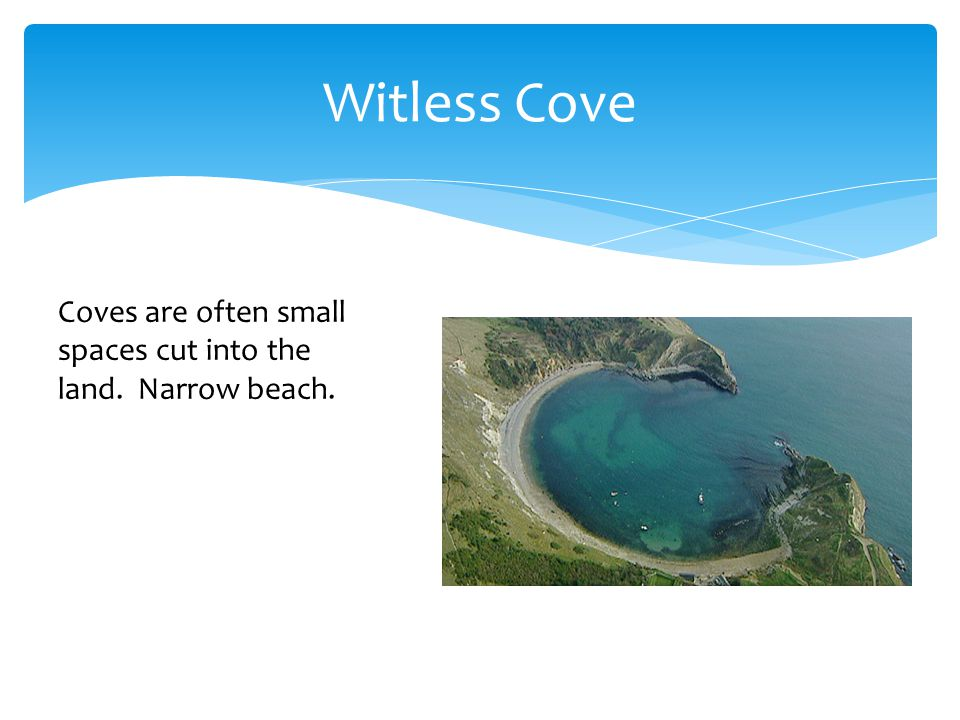 Witless Cove Coves are often small spaces cut into the land. Narrow beach.