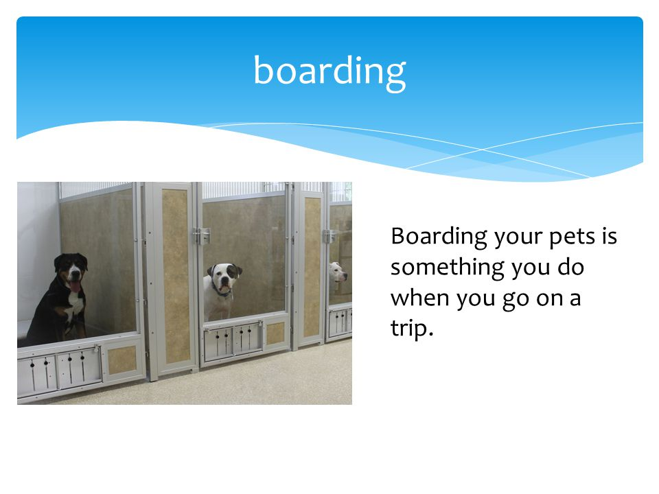 boarding Boarding your pets is something you do when you go on a trip.