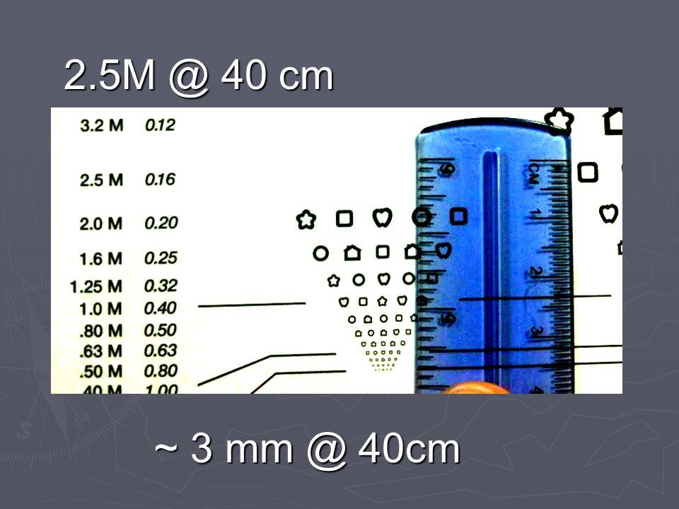2.5M @ 40 cm ~ 3 mm @ 40cm