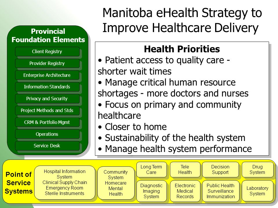 99 Manitoba eHealth Strategy to Improve Healthcare Delivery Point of Service Systems Hospital Information System Clinical Supply Chain Emergency Room