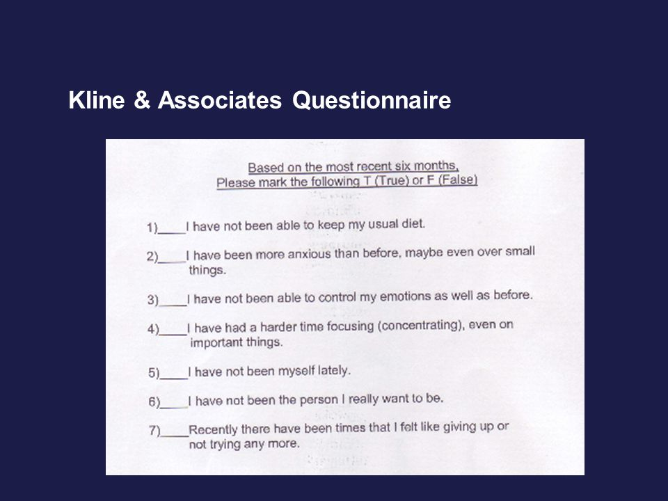 Kline & Associates Questionnaire