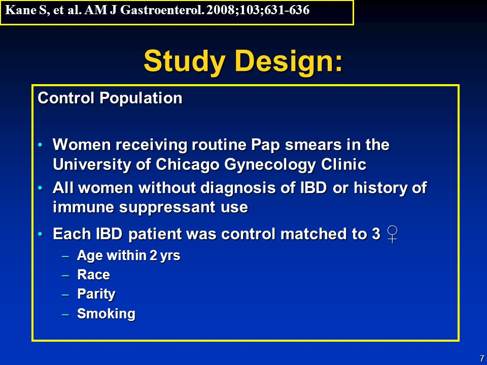 7 Study Design: Control Population Women receiving routine Pap smears in the University of Chicago Gynecology Clinic Women receiving routine Pap smear