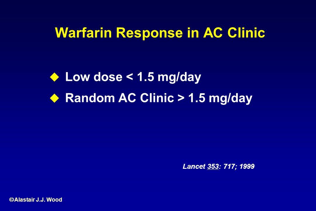 Alastair J.J. Wood Warfarin Response in AC Clinic Low dose < 1.5 mg/day Random AC Clinic > 1.5 mg/day Lancet 353: 717; 1999