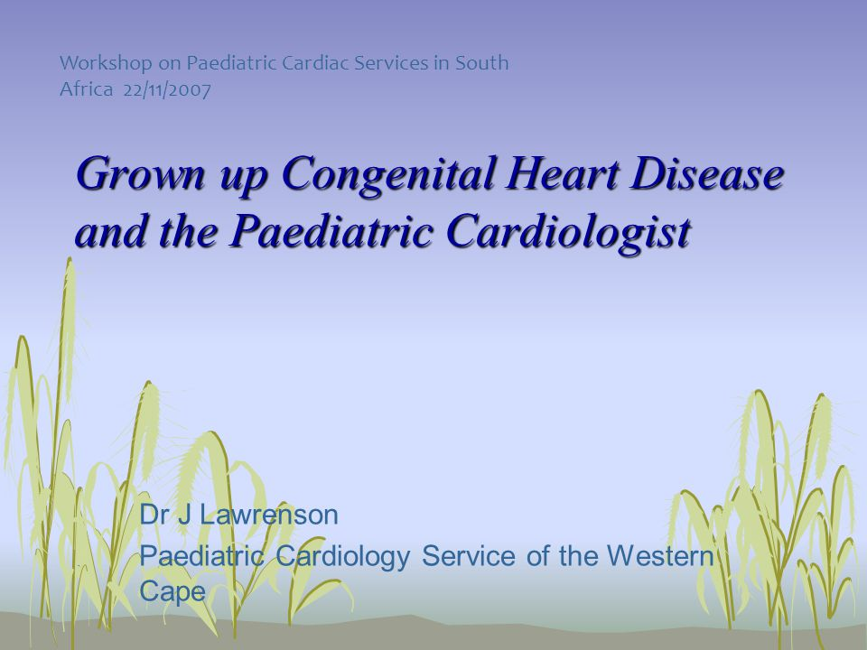 Grown up Congenital Heart Disease and the Paediatric Cardiologist Dr J Lawrenson Paediatric Cardiology Service of the Western Cape Workshop on Paediatric Cardiac Services in South Africa 22/11/2007