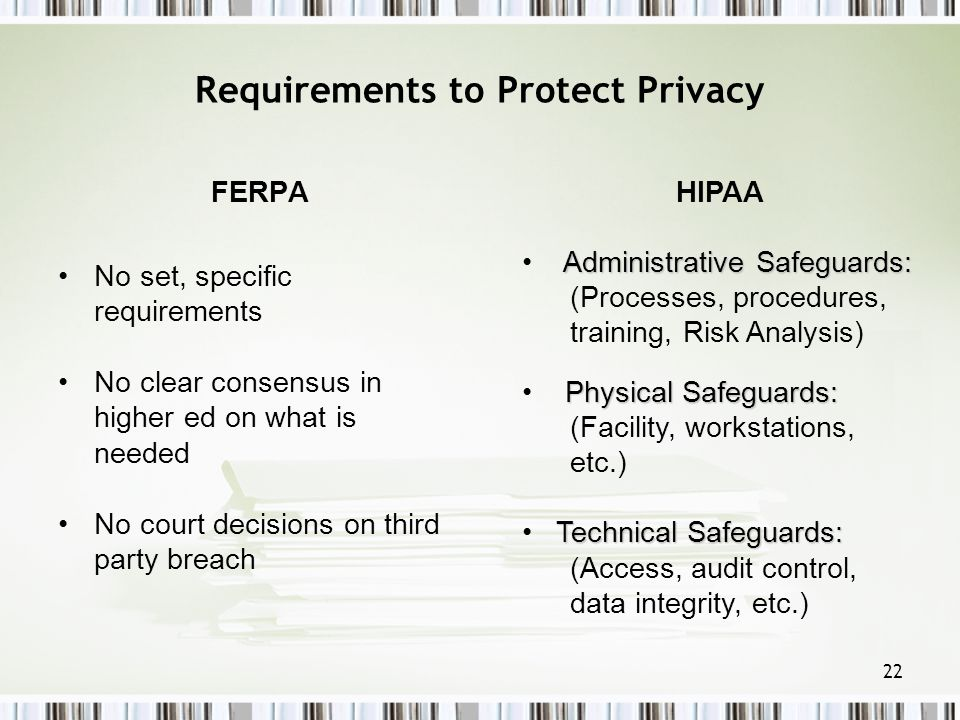22 Requirements to Protect Privacy FERPA No set, specific requirements No clear consensus in higher ed on what is needed No court decisions on third p