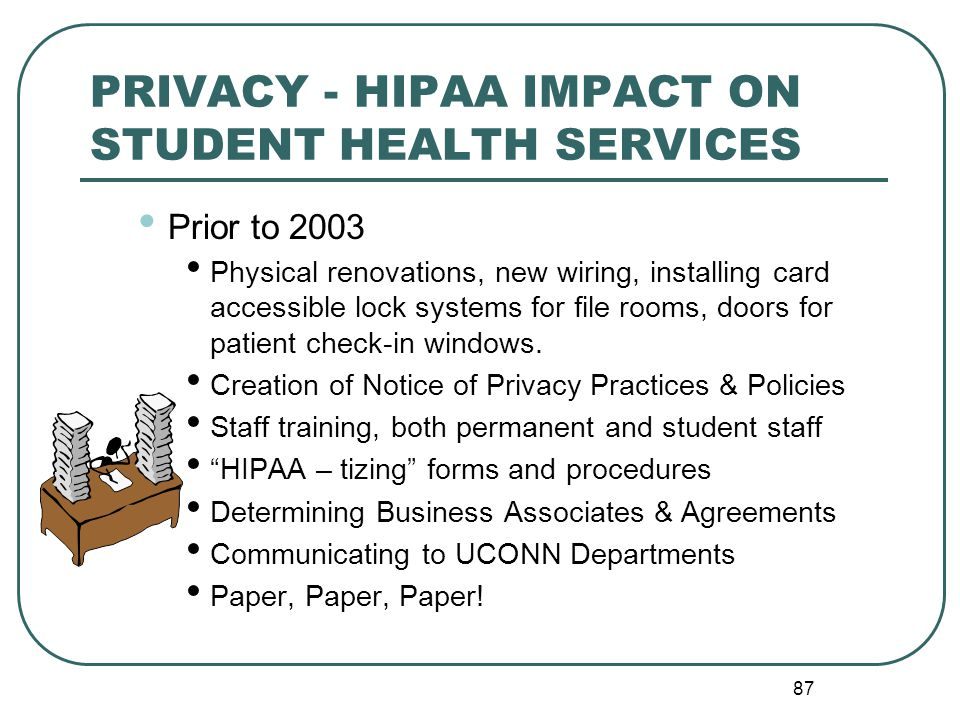 87 PRIVACY - HIPAA IMPACT ON STUDENT HEALTH SERVICES Prior to 2003 Physical renovations, new wiring, installing card accessible lock systems for file