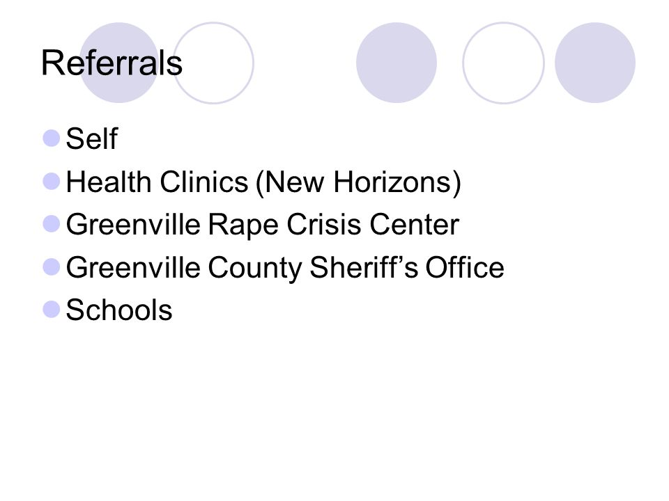 Referrals Self Health Clinics (New Horizons) Greenville Rape Crisis Center Greenville County Sheriffs Office Schools