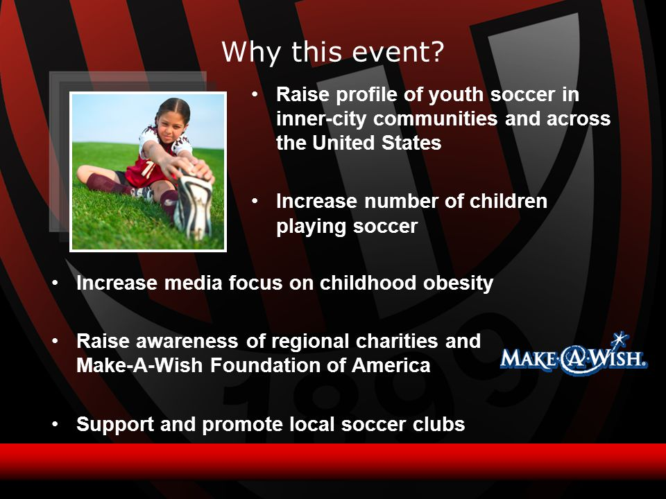 Increase media focus on childhood obesity Raise awareness of regional charities and Make-A-Wish Foundation of America Support and promote local soccer clubs Raise profile of youth soccer in inner-city communities and across the United States Increase number of children playing soccer Why this event