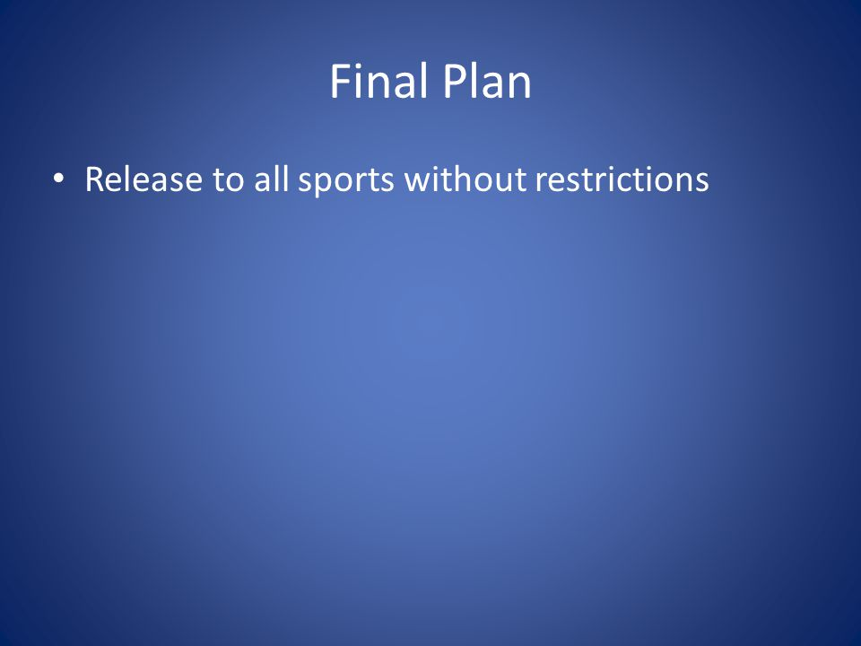 Final Plan Release to all sports without restrictions
