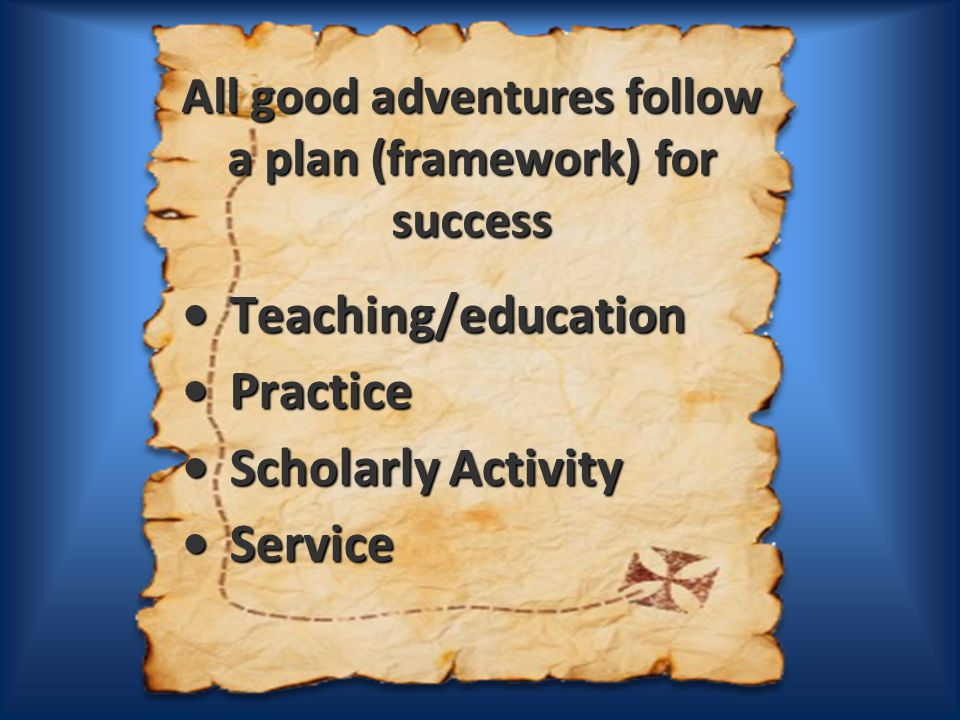 All good adventures follow a plan (framework) for success Teaching/education Teaching/education Practice Practice Scholarly Activity Scholarly Activity Service Service