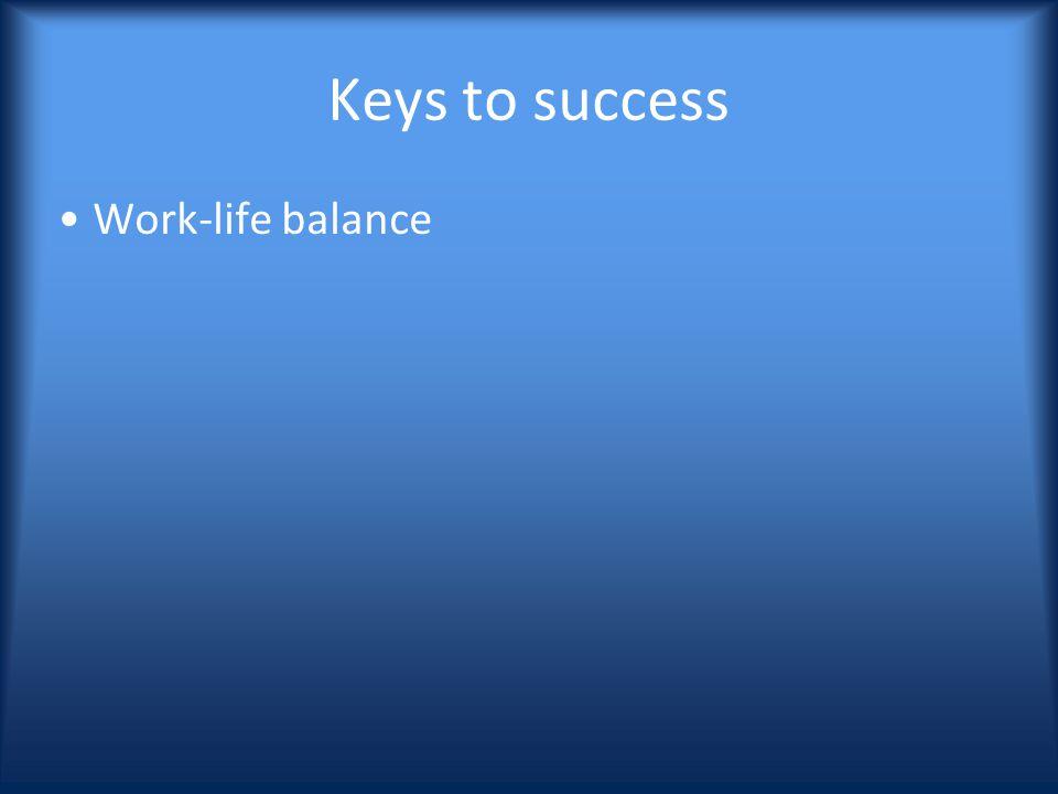 Keys to success Work-life balance
