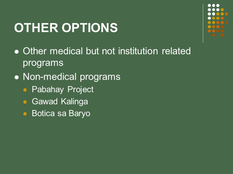 OTHER OPTIONS Other medical but not institution related programs Non-medical programs Pabahay Project Gawad Kalinga Botica sa Baryo