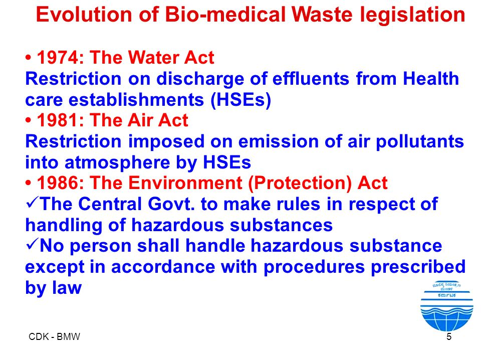 CDK - BMW5 Evolution of Bio-medical Waste legislation 1974: The Water Act Restriction on discharge of effluents from Health care establishments (HSEs)