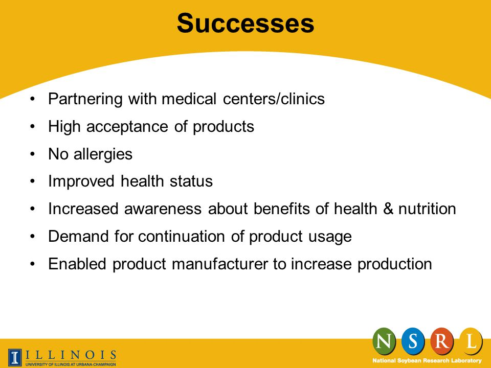 Successes Partnering with medical centers/clinics High acceptance of products No allergies Improved health status Increased awareness about benefits of health & nutrition Demand for continuation of product usage Enabled product manufacturer to increase production