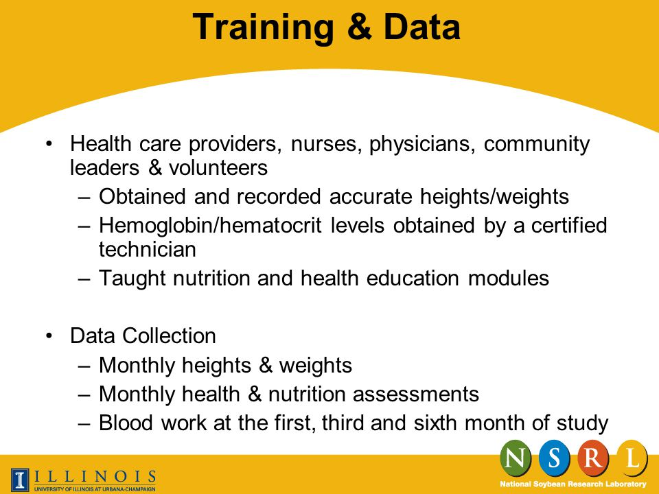 Training & Data Health care providers, nurses, physicians, community leaders & volunteers –Obtained and recorded accurate heights/weights –Hemoglobin/hematocrit levels obtained by a certified technician –Taught nutrition and health education modules Data Collection –Monthly heights & weights –Monthly health & nutrition assessments –Blood work at the first, third and sixth month of study
